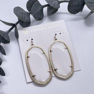 Kendra Scott Danielle Gold Statement Earrings In Ivory Mother-Of-Pearl